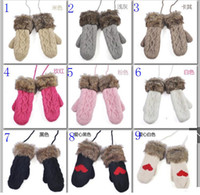 Wholesale twist lovely lady winter pure manual weaving upset warm feather fashion hang neck wool gloves pair