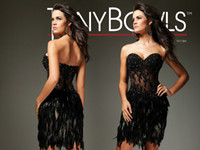 Wholesale Sexy Sheath Lace Bust Line Sweep Feather Beauty High Quality Cocktail Dress TB0150