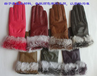 Wholesale 2012 Fashion Real Goat Skin Fur amp Rabbit Hair Thicken Keep Warm Gloves Women s Fashion Gloves