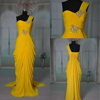Wholesale Newest Design Beaded One Shoulder Chiffon Yellow Floor Length Ruched Prom Dresses Evening Gowns GP1