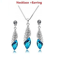 Wholesale Superior Crystal Glitter Drop Jewelry Sets Fashion Silver Jewelry Popular Jewelry sets JS038