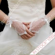 Wholesale Net Fingerless Lace Gloves Short Wedding Gloves with Ribbon