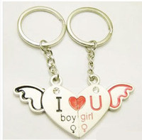 Wholesale 2012 Fashion Angel wings lovers Mobile Chain Hearts Styling Couple Charms For Lovers