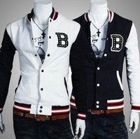 Wholesale New Men s Baseball Shirt Jacket Jackets Baseball Uniform Coat Outwear Stand Collar Size M L XL XXL