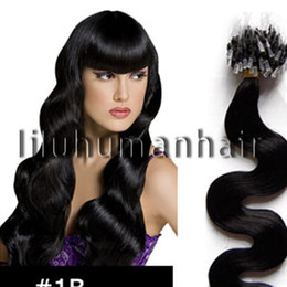 Wholesale 20 quot Body Wavy Remy Micro Loop Ring Human Hair Extensions B natural black g s