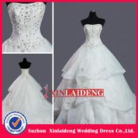 Wholesale Strapless Modern Style A Line Rhinestones Applique Organza Bridal Gown Designers Wedding Dresses
