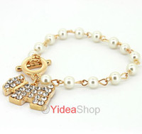 Wholesale 6pcs Golden Cute Bling Rhinestone Pearl Dog Toggle Link Charm Bracelet