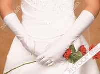 girl white gloves - Gloves with Fingers Simple Glamorous White Girls Wedding Gloves