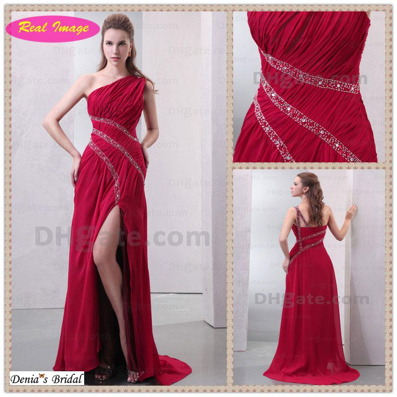 2013 New Shiny Red Prom Dresses One Shoulder Ruffled Beading Sequins    Red One Shoulder Prom Dresses 2013