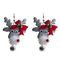 Wholesale New Arrival Grey Fabric Christmas Deer Reindeers Earrings Nail Stud Jewelry Hot Sell per