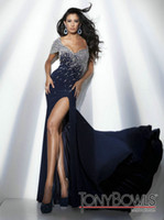 Wholesale Designer beaded chffon Evening Dresses Tony Bowls Shath V neck split open back prom dresses tb009