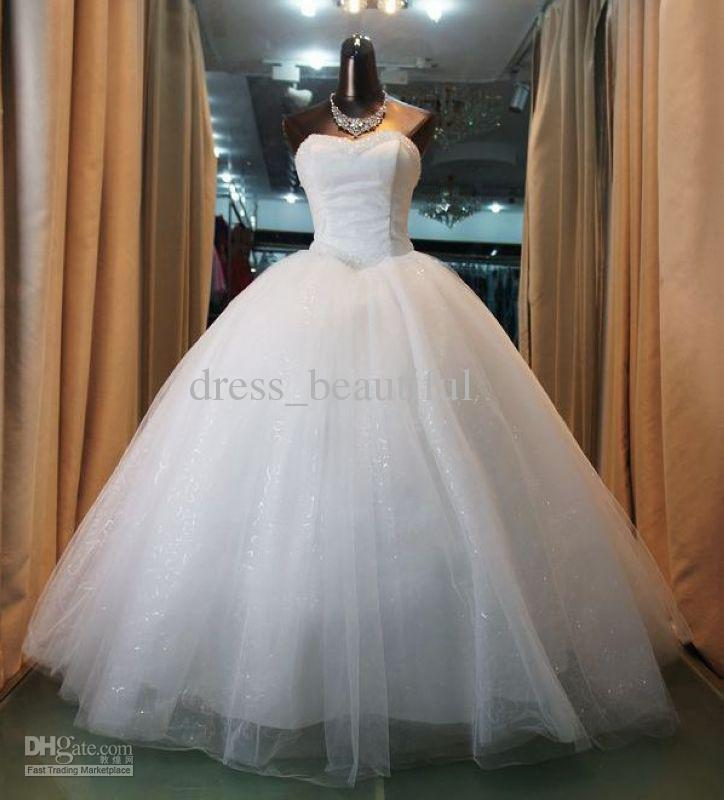NEW Ball Gown Sweetheart Neckline Beaded Bodice Wedding Dresses ...