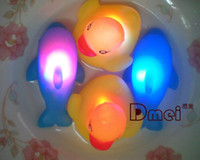 Bath Toys Halloween  Baby Bath Bathing Funny LED Flashing Duck Toy Rubber 400pcs lot free shipping