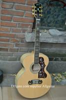 Wholesale J M Custom Shop natural Solid spruce AAA Back Side Tigrina fishman mic pickups acoustic guitar