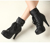 Wholesale Ladies Anti Skid Lace Up Knight Boots Martin Boots Buckle Black Brown High Heels Boots Size