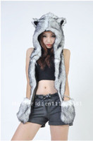 Wholesale New Fashion Faux Fur Animal Hood Spirit Hat Animal Hats Beanie Cap White Husky Hat Animal Hoodie