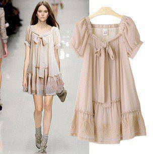 2012 Chiffon Dress Vintage Embroidery Flare Dresses Plus Size ...