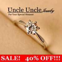 Wholesale Classic Styling K White Gold Plated Classic Prong Sparkly Zircon Wedding Lady Ring