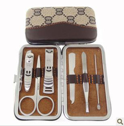 Wholesale Brown pattern nail suit tungsten steel nail scissors six pieces