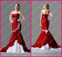 Wholesale Custom Made Wine Red Taffeta White Lace Beaded Appliques Sexy Cheap Mermaid Bridal Wedding Dresses
