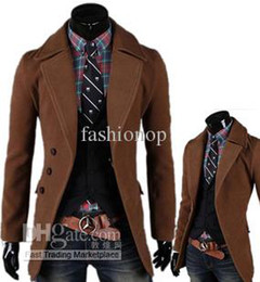 Wholesale 2013 Korean Winter Mens Long Coat Lapel Single Breasted Thick Casual Wool Coffee Warm Outwear SY