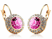Wholesale Retail pairs CZ Rhinestone Crystal Clip Earrings Nine Colors Available