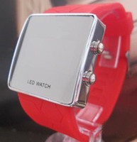 Wholesale Hot Sales For Watch Men s Women s Led Electronic Candy Jelly Mirror Watches Mix Colours
