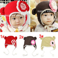 Wholesale Lovely Crochet Baby Flower Hat Hand Knitted Baby Flower Hat Crochet Kids Hat Baby Beanie L HC14