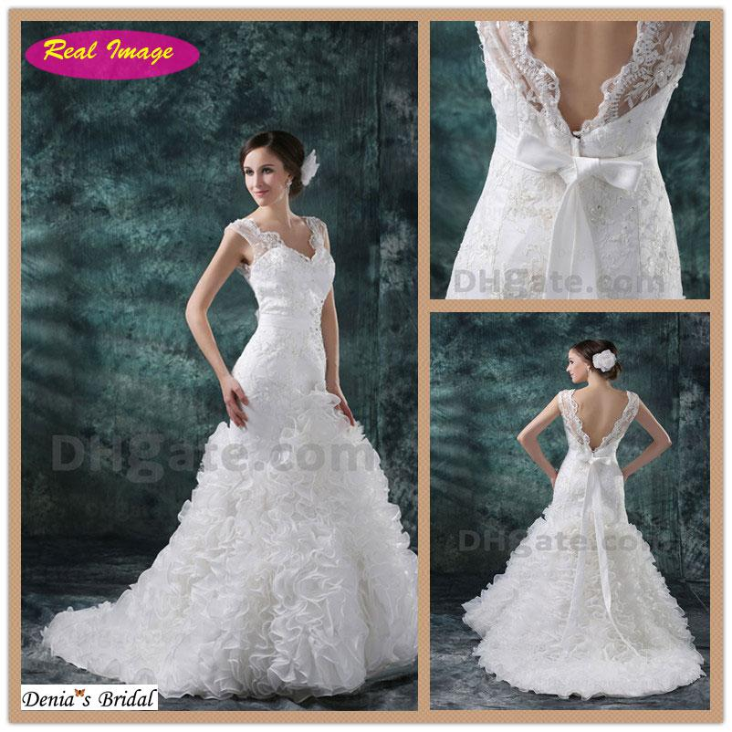 2013 New Design V Neck Lace Wedding Dresses Beading Sexy Mermaid ...