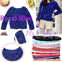 Wholesale Blue Women Blouse D Rose Flowers Mesh Lace Girls Pullover Ladies long Sleeve shirts Tops G0044RBL