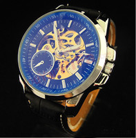 Wholesale Men s Mechanical Automatic Watch Hot Men Face Automatic Leather Band Wrist Watch watches
