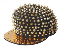 Wholesale Black Cap Gold Rivet Men Women Kid Spike Studs Rivet Cap Hat Punk Rock Hiphop Black Red White