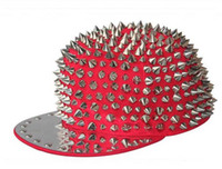 Wholesale Red Cap Silver Rivet Men Women Kid Spike Studs Rivet Cap Hat Punk Rock Hiphop