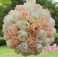 Wholesale MIC quot or quot Ivory Orange Kissing Ball Pomander Flowers Crystal Pew Bows Ball Wedding Party Supplies