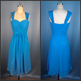 Actual Image Custom Made Blue Straps Ruched Bodice Knee Length Chiffon Bridesmaid Dress Party Gown