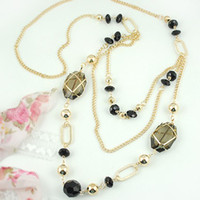 Wholesale Fashion Multilayer Sweater Necklaces Gold Plated Chain Golden Jet Beads Long Necklace N003