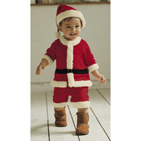 Wholesale retail Baby Romper Set Outfits Hat Cap Infant Winter Clothing Children Christmas OutWear Santa
