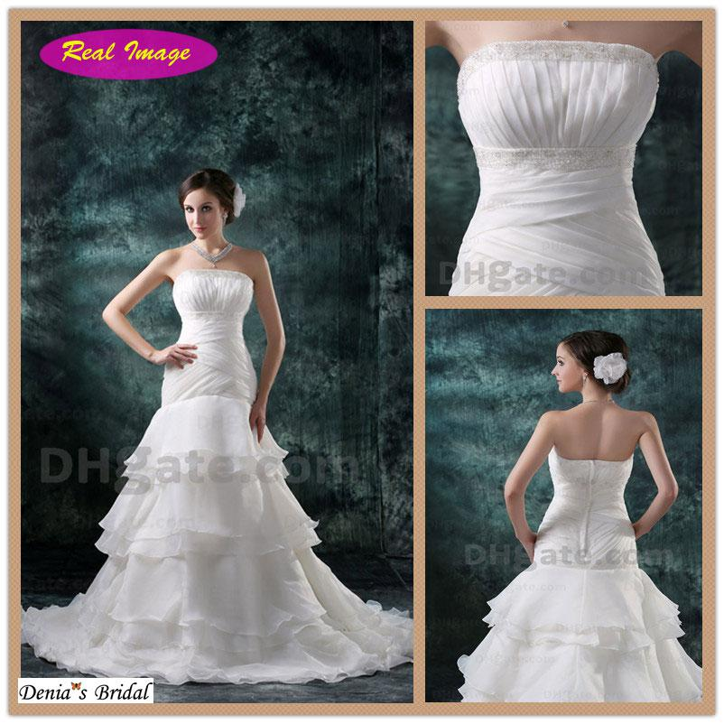 2013 Beautiful Strapless Wedding Dresses Big A Line Style Pleated ...