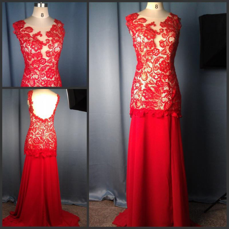 Actual Image Red Prom Dresses Cap Sleeveless Lace Applique Chiffon ...