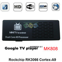Wholesale MK808 Google Android TV BOX MINI PC Dual Core Cortex A9 RK3066 WIFI Skpye RAM GB GB