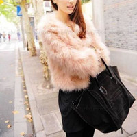 Wholesale Pink Women Faux Ostrich Feather Fur Coat Jacket Tops Long Sleeve Celebrity Style