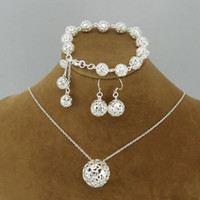 Wholesale 925 jewelry fashion silver jewelry Jewelry Set Sterling silver charm ball pendant necklace amp earri