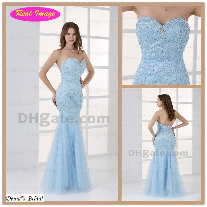 2013 Exquisite Sweetheart Prom Dresses Light Blue Shiny Beading ...