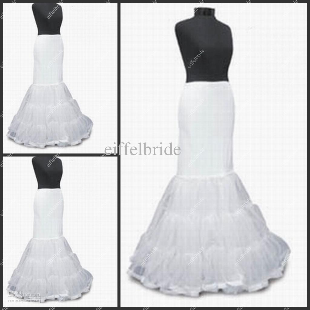 Pt006 Sexy White Mermaid Wedding Dress Petticoat Three Hoops Long ...