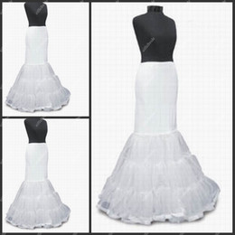 Wholesale PT006 Sexy White Mermaid Wedding Dress Petticoat Three Hoops Long Affordable Petticoat