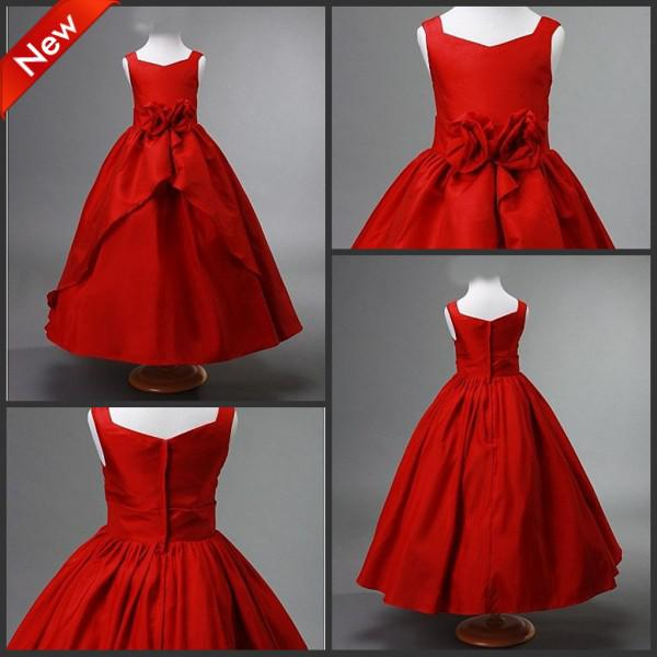 CUSTOM Made Red A-line Flower Girl Dresses Red Little Girls ...