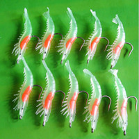 Wholesale 10pcs mm g Noctilucent Soft Silicone Prawn Shrimp Fishing Lure Hook Bait