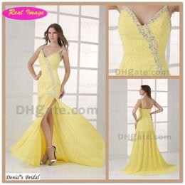 Honorable Spaghetti beading Strap Prom Dresses Light Yellow Chiffon Splite Side Evening Dress HX78 dhyz 01