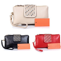 Wholesale Freeshipping Fashion Korean Style PU Leather Rivet Lady Girls Clutch Purse Wallet Bag BG34