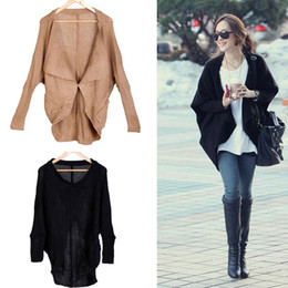 Wholesale Fashion quality Women Batwing Sleeves Knitted Sweater Cape Tops Ladies Coat Cardigan colors G0048